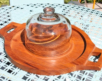 Gorgeous OVERSIZE vintage Teak cheese tray with handles & Glass Dome appetizer tray,Thailand TEAK, Mid Century cheese plate, Bakery display