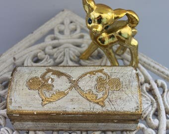 Vintage Carved Gold jewelry box made in Italy, Ornate Vintage Italian Cream and Gold Hinged Lidded Box, Florentine Gold box