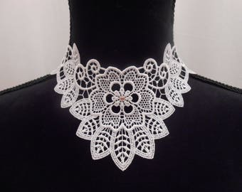 White lace necklace with Swarovski crystal stone.