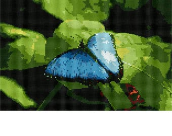 Needlepoint Kit or Canvas: Butterfly In Blue