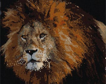 Needlepoint Kit or Canvas: Lion Up Close