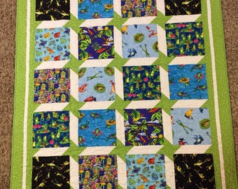 Baby Boy or Girl Frogs and Stars Quilt