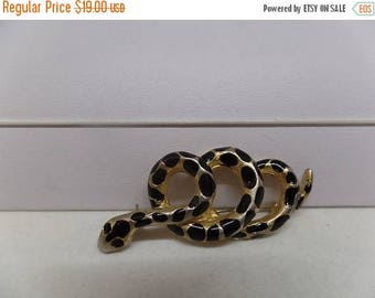 ON SALE Fabulous Vintage Signed Black Enamel Snake Brooch