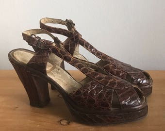 1940s Alligator Embossed Brown Leather Platform Shoes with Peep Toe and Sling Back by Dino's Original
