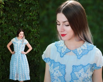 Vintage 1940s 40s small sheer embroidered organdy dress - pastel light blue - scalloped collar - floral eyelet gown / midi length