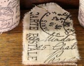 Postage - Muslin Tags Vintage Inspired Hand-Stamped Tea Dyed and Frayed Muslin Tags - Junk Journal - Mixed Media - Tea Stained Muslin Tags