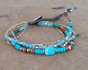 Bracelet - Japanese beads - fine stones - boho - hippie - gypsy - gypset - bohemian - ethnic - Ibiza - gypsy style.
