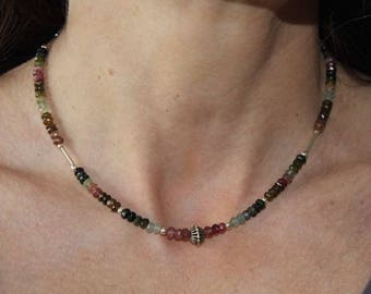 Necklace fine stones faceted tourmaline and Silver 925