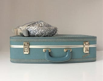 Vintage Suitcase, Airplane By Neevel Carryon, Blue Overnight Bag, Mid Century Luggage