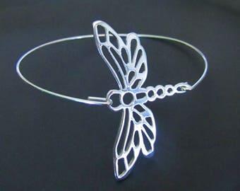 Big Dragonfly Bracelet, Dragonfly Bangle bracelet, Sterling Silver Bracelet, Jewelry, Gift for Her