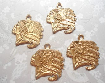4 Coppercoated Indian Head Charms Pendants