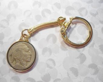 1 Goldplated Buffalo Nickel Indian Head Nickel Key Ring Key Chain