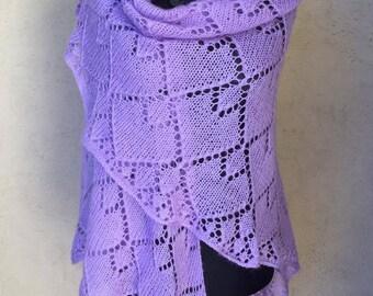 Hand knitted purple shawl
