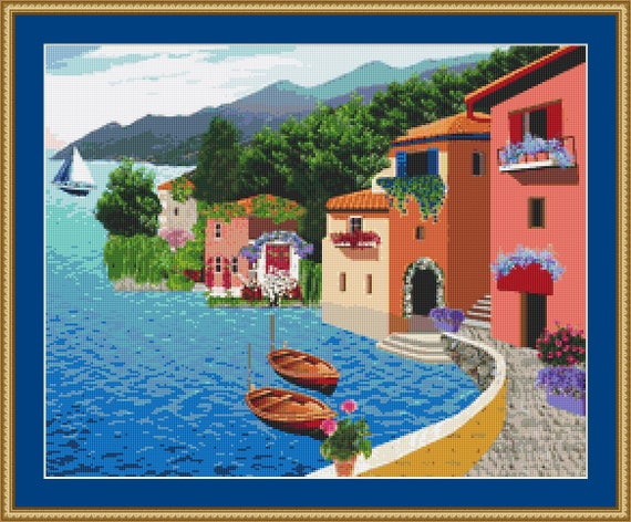 Village By The Sea Cross Stitch Pattern /Digital PDF Files /Instant downloadable