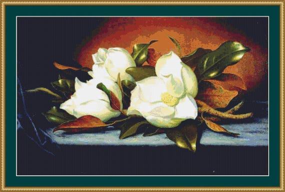 Giant Magnolias Cross Stitch Pattern /Digital PDF Files /Instant downloadable