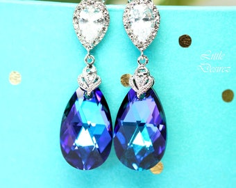 Purple Blue Jewelry Purple Earrings Pear Bridal Jewelry Crystal Earrings Peacock Earrings Bridesmaid Earrings Gift for Her Heliotrope HE32H