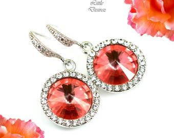 Coral Earrings Crystal Earrings Swarovski Earrings Swarovki Rivoli Earrings Round Earrings Dangle Earrings Pave Crystal Sparkly Bling CO34H