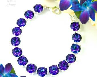 Tennis Bracelet Purple Bracelet Swarovski Heliotrope Rivoli Crystal 8mm Chain Bracelet Bridal Bracelet Rivoli Bracelet Small Stones HE35BR