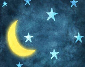 4'x6' Goodnight Moon Backdrop - Rush Shipping