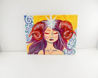Vintage Original Art / Aries / Zodiac / Aries horoscope / Original Art / Acrylic on Canvas