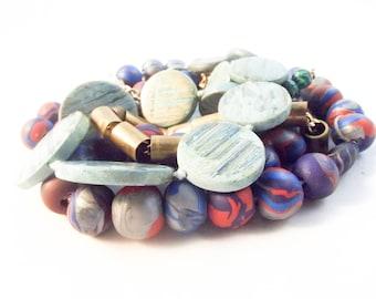 Bohemian Jewelry Set/ Necklace / Boho / Boho Chic / African Beads / Brass Jewelry / Costume Jewelry / Bohemian Jewelry lot  / Mint Necklace