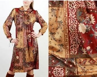 SALE Velvet Dress / Oriental Dress / Vintage Dress / Bohemian Dress / Boho Dress / Asian Dress / Shi Zhuang / Long Sleeve Dress / Midi Dress
