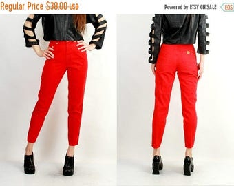 SALE Moschino Pants / Designer Pants / 90s Pants / Red Moschino Pants / Vintage Moschino / Designer Pants / High Waisted Pants / Taper Pants