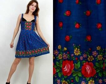 SALE Floral Dress / Floral Linen Dress / Trachten Dress / Dirndl Dress / Bavarian Dress / Oktoberfest Dress / Blue Floral Dress / Vintage Sa