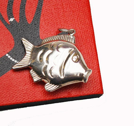 Sterling fish Pendant -Puffy hollow silver - large sea life figurine pendant