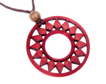 Necklace sun wooden
