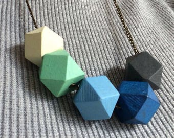 Geometric Wood Necklace - 5 different colors wooden beads - gift mother girl friend sister daughter