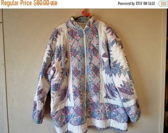 Celebrate Vintage Purple Pinwheel Hand Pieced and Quilted Jacket