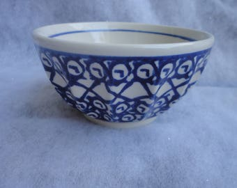 Vintage Hand Made Pottery Blue White Boleslawiec Bowl, Bowl, Blue White Pottery Bowl, Cereal Bowl, Polish Boleslawiec Bowl, Made in Poland