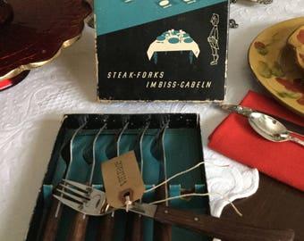 Felix Solingen Barbecue Set-Steak Forks-Set of Six in Original Box-Wood Handles