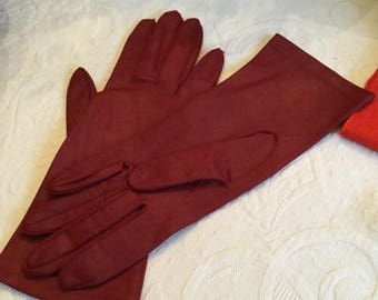 Vintage Crimson/Wine  Red Leather Ladies Driving Gloves-Jacobsen's Department Store-Unlined
