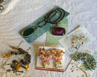 10 Piece Assorted Pierced Earring/Necklace/Pendant Lot Jewelry