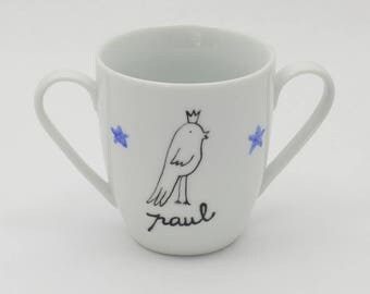 Double handles bird King BOY personalized porcelain mug