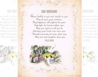 """Buzza Motto - """"YOUR ANNIVERSARY"""" - Edgar A. Guest Poem - 1939 Vintage Print - Mid Century Blond Wood Frame - Romantic Lovers Color Print"""