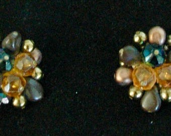 "Vintage  Earrings Signed and Made in West Germany - ""Cocoa Clusters"""