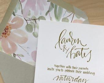 Simple Wedding Invitation Suite / Elegant Calligraphy Wedding Invitation / Traditional Wedding Invitation / Simple Wedding Invitation