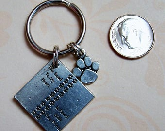 The Road To My HEart Is Paved With Paw Prints Keyring