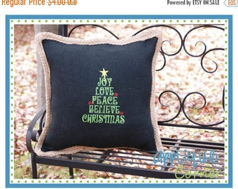 40% OFF INSTANT DOWNLOAD Tree Joy Love Peace Believe Christmas applique design in digital format for embroidery machine by Applique Corner