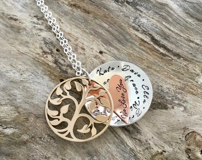 Gifts for Mom   Layered Mixed Metal Name Necklace   Stamped Necklace with Names   Personalized Necklace for Mom   Mothers Necklace