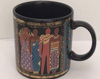 Vintage Laurel Burch Black Stoneware Pottery Mug Tribal Spirit 1980's