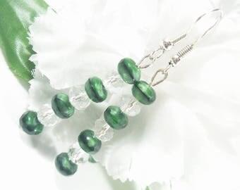 Green Earrings, Swarovski Crystal Earrings, Holiday Earrings, Swarovski Earrings Womens Jewelry, St Patricks Day Gifts, Easter Gifts for Her