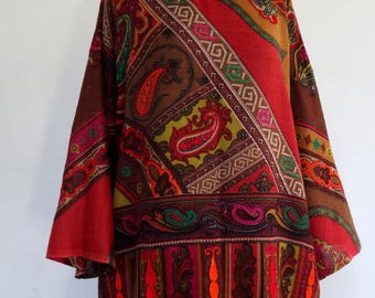 Woven and embroidered wool shawl tunic ochre red multicolored, round neck sweater