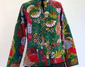 Jacket fitted cotton gaudri green and multicolor printed exotic