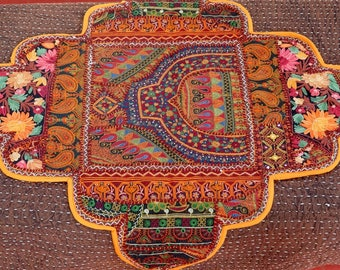 Center table or dresser in Brown, ochre and Indian beads and sequins embroidery patchwork top