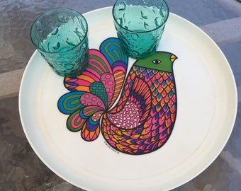 Groovy mod serving tray, 1969 dated Deka Plastics, psychedelic bird motif, made in New Jersey
