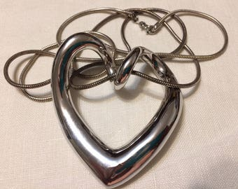 Sterling SIlver Curvy Big Heart Pendant Necklace - 34 inch chain